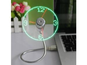Top Selling Computer Peripherals Mini Flexible Cool Gadget USB Time LED Fan Clock Time Display USB Clock Fan with LED Light
