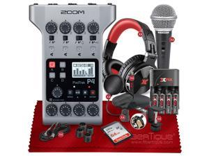 ZOOM PODTRAK P4 THE ULTIMATE RECORDER FOR PODCASTING with 64GB Memory Card,  Four Samson R21S Dynamic Microphone,  Four XPIX Pro DJ Headphones, and Essential Accessories Bundle