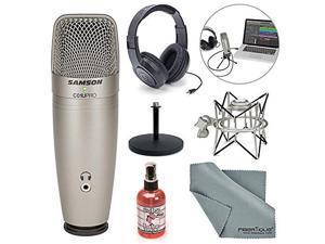Samson C01U Pro USB Studio Condenser Microphone W/ Spider Shock Mount, Desktop Stand, Microphone sanitizer, Samson Stereo Headphones and FiberTique Cleaning Cloth
