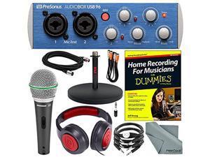 PreSonus AudioBox USB 96 2x2 USB 2.0 Recording System with Studio One Software + Home Recording for Musicians for Dummies and Platinum Studio Bundle