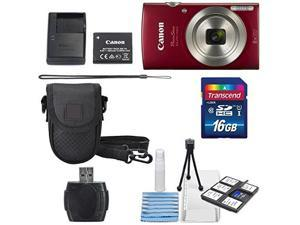 Canon PowerShot ELPH 180 Digital Camera (Red) + 16GB SDHC Memory Card + Mini Table Tripod +Protective camera case with Deluxe Cleaning Bundle