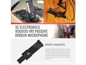 sE Electronics Voodoo VR1 Passive Ribbon Microphone with Mic Boom Stand and Deluxe Accessory Bundle