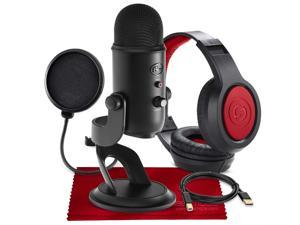 Blue Yeti USB Microphone (Blackout) with Studio Headphones and Pop Filter Accessory Pack