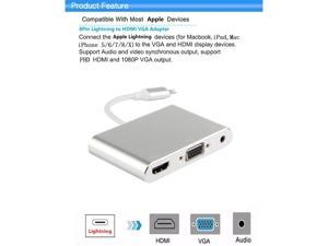 Lightning to Digital AV Multiport HDMI, VGA & Audio Adapter 1080p Full HD Video Output for iPhone/ iPad/ iPod and other Apple Devices