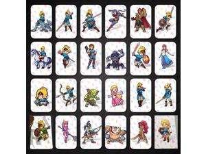 24 Full Set ZELDA BREATH OF THE WILD AMIIBO NFC PVC TAG CARD for NS Switch Wii U, With 20 Hearts WOLF SSB YOUNG LINK,Awakening Link and Card Wallet.