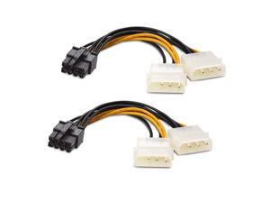 Cable Adapter (2-Pack) 8-Pin PCIe to Molex (2x) Power Cable 7Inches