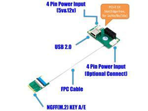 NGFF (M.2)  Key A/E  to PCI-E Express X1+USB Riser Card with High Speed FPC Cable