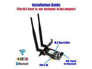 NGFF M.2 key A to PCI-e X1 Adapter for WiFi and Bluetooth Card