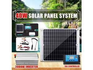 2000W Solar Energy System 40W Solar Panel Dual USB Solar Cell With 10A Solar Controller 2000W Power Inverter Home System Kit