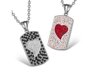 Magic Hearts Austrian Crystal Love Couple Dog Tag Cherry Red Pink Rainbow White Necklaces