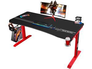 Furmax 55 Inch Gaming Desk T-Shaped PC Computer Table, Home Office Desk Carbon Fibre Surface Workstation with Free Full Coverage Mouse Pad, Cup Holder and Headphone Hook (Red)
