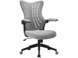 Furmax Office Desk Chair with Flip Up Arms, Mesh Mid Back Computer Chair Swivel Task Chair with Ergonomic Lumbar Support (Gray)