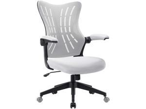 Furmax Office Desk Chair with Flip Up Arms, Mesh Mid Back Computer Chair Swivel Task Chair with Ergonomic Lumbar Support (White)
