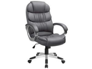 Furmax High Back Office Chair Adjustable Ergonomic Desk Chair with Padded Armrests, Executive PU Leather Swivel Task Chair with Lumbar Support (Grey)