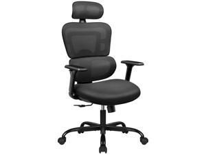 Furmax Ergonomic Office Chair Computer Desk Chair Mesh Fabric High Back Swivel Chair with Adjustable Headrest and Armrests Executive Rolling Chair with Curved Lumbar Support (Black)
