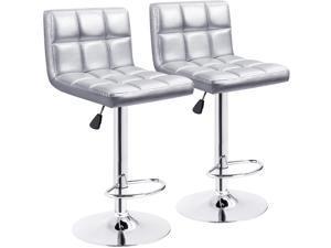 Furmax Bar Stools Modern PU Leather Swivel Adjustable Hydraulic Bar Stool Square Counter Height Stool Set of 2 (Silver)
