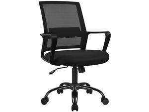 Furmax Office Ergonomic Mesh Desk Modern Mid Back Task Home Chair with Lumber Support and Armrest (Black)