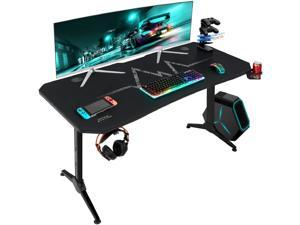 Furmax 55 Inch Gaming Desk Racing Style PC Computer Desk Y-shaped Table Home Office Desk with Large Carbon Fiber Surface, Free Mouse Pad, Headphone Hook, Gaming Handle Rack and Cup Holder (Black)