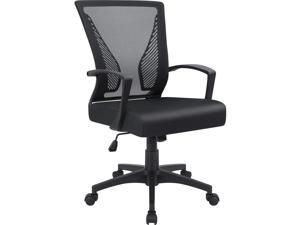 Furmax Office Chair Mid Back Swivel Lumbar Support Computer Ergonomic Mesh Chair with Armrest (Black)