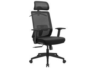 Furmax Ergonomic Office Chair High Back Desk Chair Mesh Computer Chair with Adjustable Headrest, Lumbar Support, Armrests and Clothes Hanger (Black)