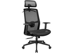 Furmax Ergonomic Office Chair Executive Chair with Mesh Seat High Back Computer Desk Chair with Adjustable Headrest Lumbar Support Armrest Rolling Task Chair with Clothes Hanger (Black)
