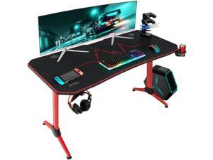 Furmax 55 Inch Gaming Desk Racing Style PC Computer Desk Y-shaped Table Home Office Desk with Large Carbon Fiber Surface, Free Mouse Pad, Headphone Hook, Gaming Handle Rack and Cup Holder (Red)