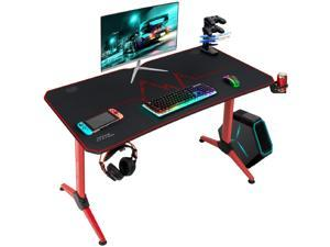 Furmax 43 Inch Gaming Desk Racing Style PC Computer Desk Y-shaped Home Office with Desk Large Carbon Fiber Desktop, Cup Holder, Headphone Hook, Full Mouse Pad, and Gaming Handle Rack (Red)