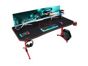 Furmax 63 Inch Gaming Desk Y-Shaped PC Computer Table with Carbon Fibre Surface Free Mouse Pad Home Office Desk Gamer Table with Game Handle Rack Headphone Hook and Cup Holder (Red)
