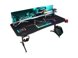 Furmax 63 Inch Gaming Desk Y-Shaped PC Computer Table with Carbon Fibre Surface Free Mouse Pad Home Office Desk Gamer Table with Game Handle Rack Headphone Hook and Cup Holder (Black)