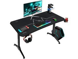 Furmax 43 Inch Gaming Desk Racing Style PC Computer Desk Y-shaped Home Office with Desk Large Carbon Fiber Desktop, Cup Holder, Headphone Hook, Full Mouse Pad, and Gaming Handle Rack (Black)