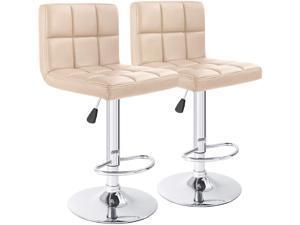 Furmax Bar Stools PU Leather Swivel Adjustable Hydraulic Bar Stool Square Counter Height Stool Modern Set of 2 (Khaki)