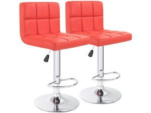 Furmax Bar Stools PU Leather Swivel Adjustable Hydraulic Bar Stool Square Counter Height Stool Modern Set of 2 (Red)