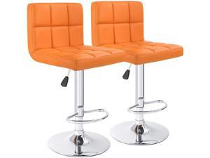 Furmax Bar Stools PU Leather Swivel Adjustable Hydraulic Bar Stool Square Counter Height Stool Modern Set of 2 (Orange)