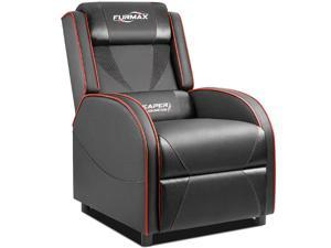Furmax Gaming Recliner Chair Racing Style Single Ergonomic Lounge Sofa PU Leather Reclining Home Theater Seat for Living Room (Red)