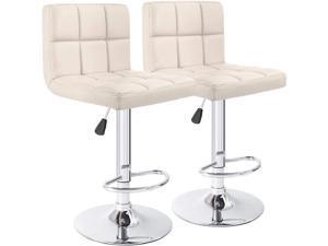 Furmax Bar Stools PU Leather Swivel Adjustable Hydraulic Bar Stool Square Counter Height Stool Modern Set of 2 (Beige)