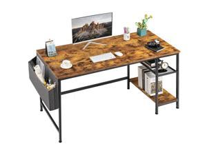 Furmax Home Office Desk 47 inch Study Writing Desk Computer Simple Splice Board Table 2-Tier Laptop Table with Storage Bag and Removable Storage Shelves (Brown)