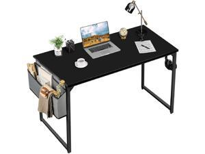 Furmax 43 Inches Office Desk Simple Modern Style PC Computer Desk Write Study Desk with Storage Bag and Headphone Hook for Office and Home (Black)