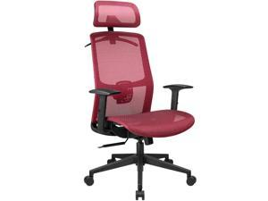 Furmax Ergonomic Office Chair Executive Chair with Mesh Seat High Back Computer Desk Chair with Adjustable Headrest Lumbar Support Armrest Rolling Task Chair with Clothes Hanger (Red)