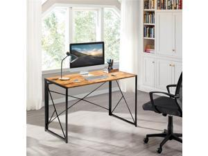 Furmax Office Desk Computer Desk Modern Simple Study Desk Industrial Style Folding Table for Home Writing Desk (Brown)