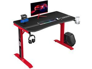 Furmax 43 Inch Gaming Desk T-Shaped PC Computer Table, Home Office Desk Carbon Fiber Surface Workstation with Free Full Coverage Mouse Pad, Cup Holder and Headphone Hook (Red)