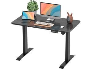 Furmax 43 Inch Electric Standing Desk Height Adjustable Desk Sit Stand Home Office Desk Ergonomic Computer Workstation with Preset Height Memory Controller Solid Wood Table Top (Black)