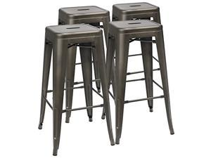 Furmax 30 Inches Metal Bar Stools High Backless Stools Indoor-Outdoor Stackable Kitchen Stools Set of 4 (Gun)