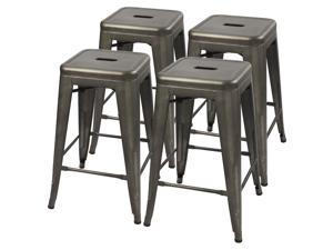 Furmax 24'' Metal Stools High Backless Silver Metal Indoor-Outdoor Counter Height Stackable Bar Stools Set of 4 (Gun)