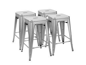 Furmax 24'' Metal Stools High Backless Silver Metal Indoor-Outdoor Counter Height Stackable Bar Stools Set of 4 (Silver)