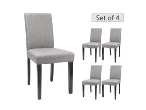 Furmax Dining Chairs Urban Style Fabric Parson Chair Kitchen Living Room Armless Side Chair with Solid Wood Legs (Grey Set of 4)