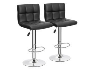 Furmax Bar Stools PU Leather Swivel Adjustable Hydraulic Bar Stool Square Counter Height Stool Modern Set of 2 (Black)