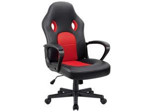 Furmax Office Desk Leather Gaming, High Back Ergonomic Adjustable Racing Task Swivel Executive Computer Chair Headrest and Lumbar Support (Red)