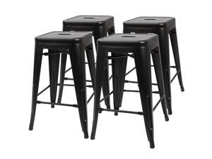 Furmax 24'' Metal Stools High Backless Silver Metal Indoor-Outdoor Counter Height Stackable Bar Stools Set of 4 (Black)