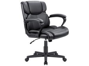 Furmax Mid Back Executive Office Chair Leather-Padded Desk Chair with Armrests, Ergonomic Swivel Task Chair with Lumbar Support (Black)