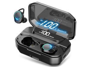 Wireless Earbuds, Nurbenn TWS Bluetooth 5.0 Headphones True Wireless Ear Buds IPX7 Waterproof Dual Built-in Mic Earphones with 4000mAh Charging Case for 120H Extended Playtime